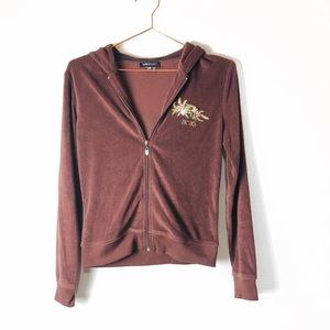 EUC BCBG Brown Terry Sequined Hoodie M/P